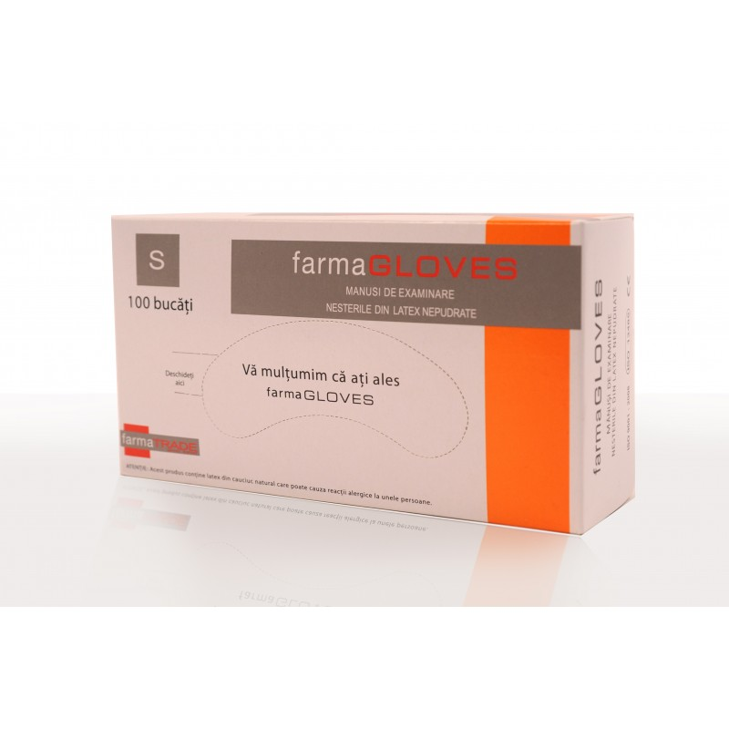 Manusi de examinare din latex nepudrate marimea (100buc/cutie)
