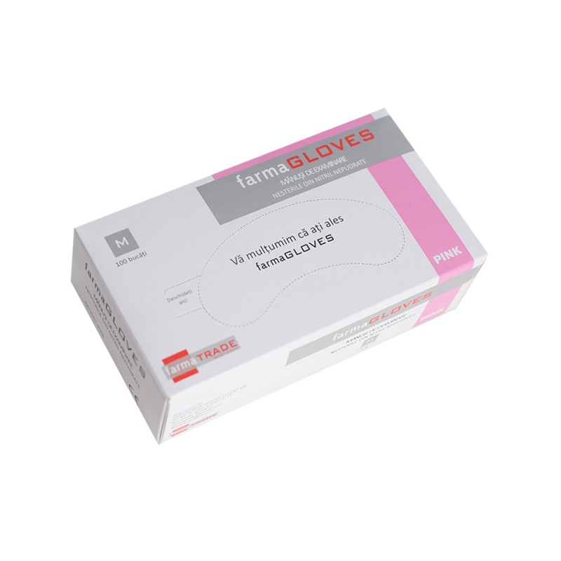 Manusi de examinare nepudrate din nitril de culoare roz - marimea S